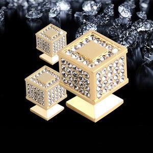 Image 3 - 24k ouro real ou cromo checa cristal gaveta armário botões guarda roupa puxadores de móveis puxadores puxadores