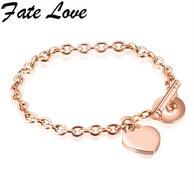 Fate Love Style 200mm Toggle Clasps Chain Bracelets Rose Gold Bracelet Heart Engraved Free