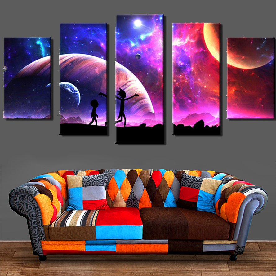 Canvas Pictures Home Wall Art Framework Decor 5 Pieces Rick And Morty Painting For Living Room HD Prints Animated Cartoon Poster