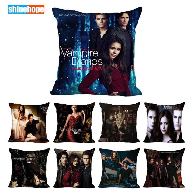 45X45cm,40X40cm(one Sides) Pillow Case Modern Home Decorative The Vampire Diaries Season Pillowcase For Living Room Pillow Cover