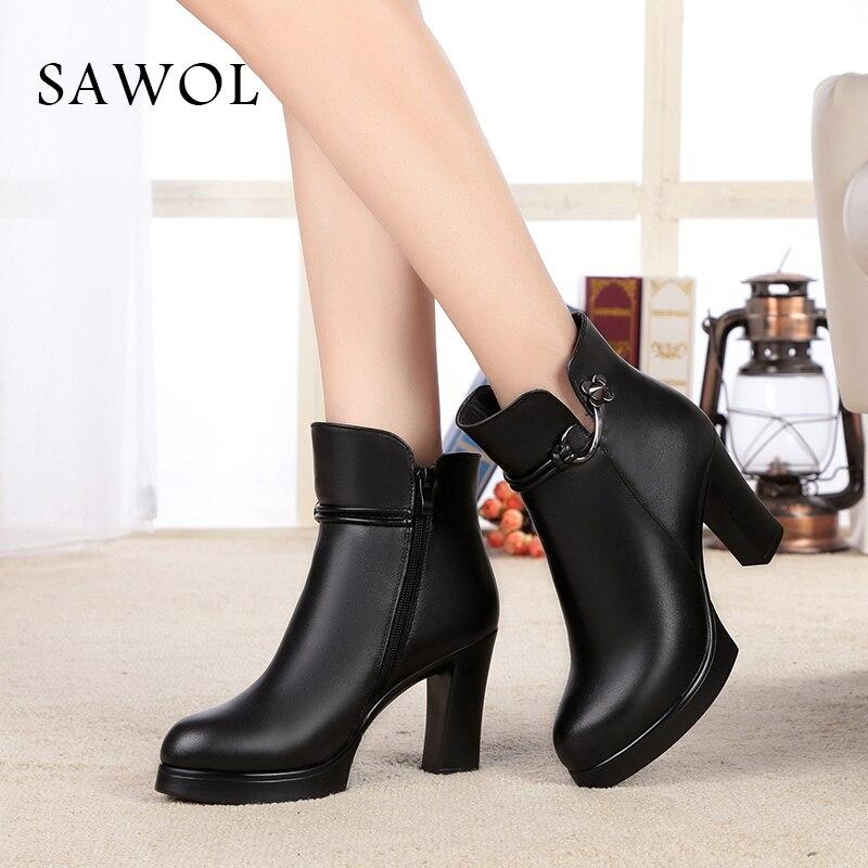 купить Women Winter Shoes Women Genuine Leather Natural Wool Boots Plush Ankle Boots Brand Women Shoes Platform High Quality Sawol недорого