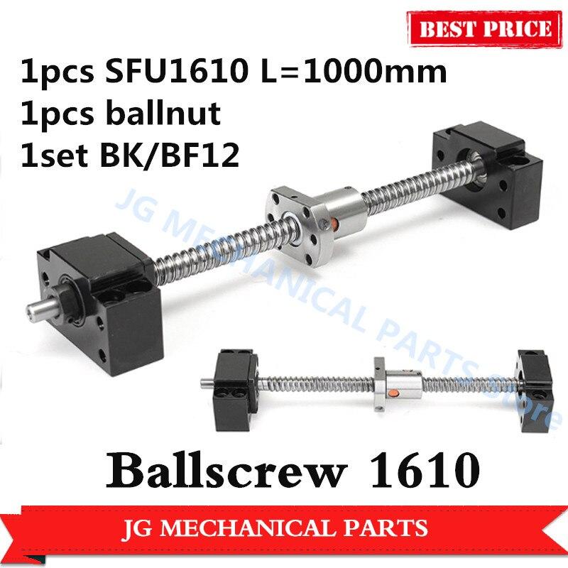 1 pcs 16mm Laminé Vis À Billes SFU1610 L = 1000mm C7 Vis À Billes écrou À Billes + BK/BF12 vis à billes support d'extrémité pour CNC pièces