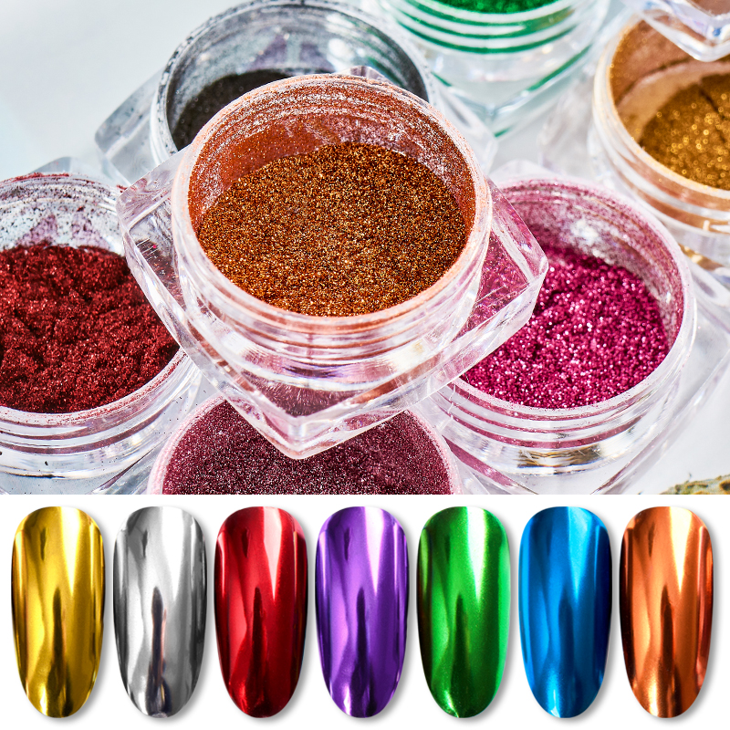 0 5g Mirror Nail Glitter Powder Magic Mirror Powder Pigment Dust Holographic Nail Art UV Gel Polishing Decorations Manicure in Nail Glitter from Beauty Health