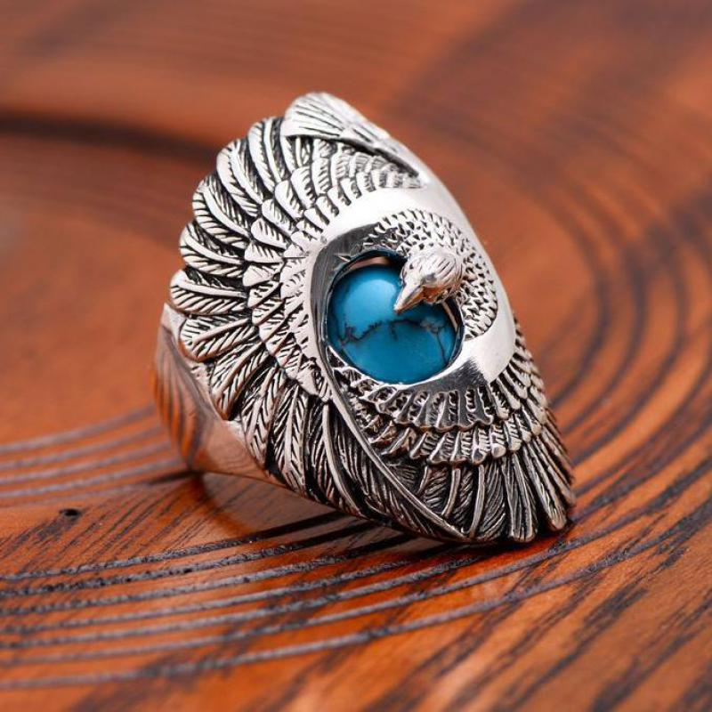 925 Sterling Silver Jewelry Mens Ring Vintage Style Eagle Wings Blue Natural Stone Ring Male Fine Jewelry-in Rings from Jewelry & Accessories    3