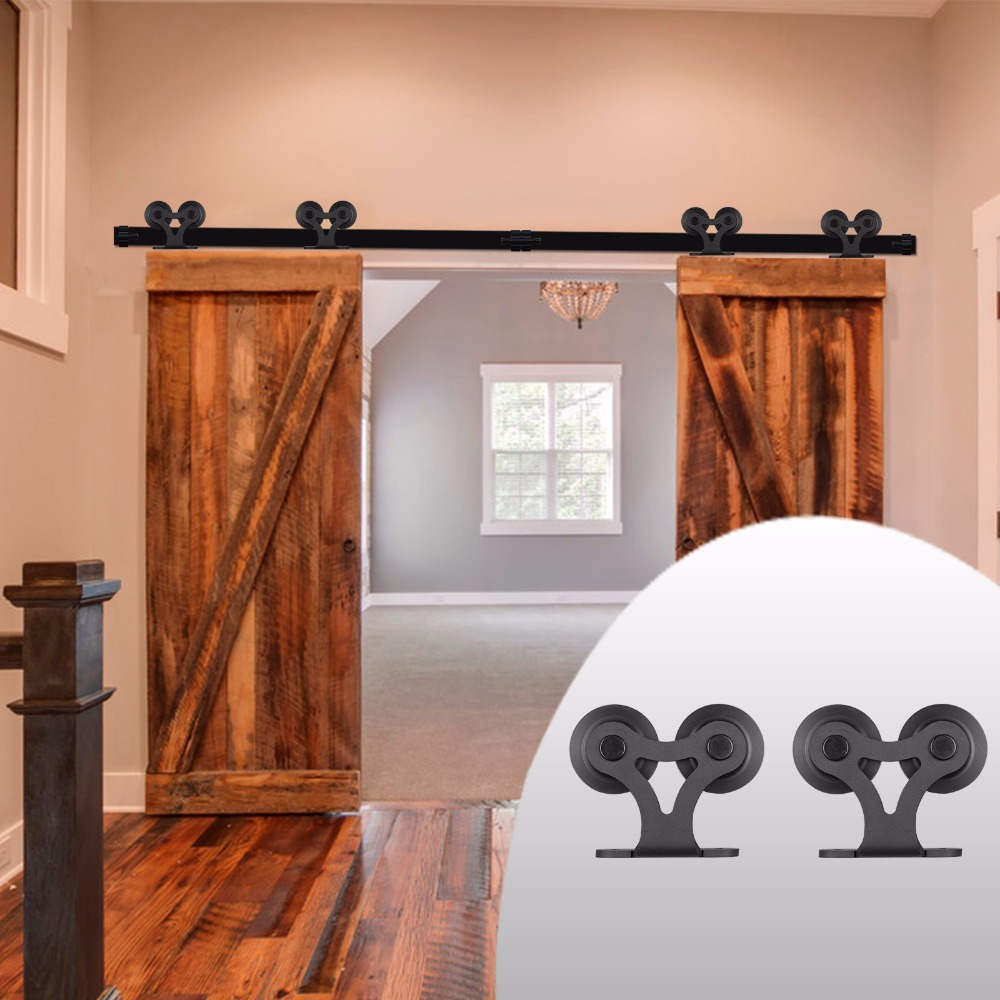 LWZH American Style Black Steel Sliding Barn Door Hardware Kit Double T Shaped Track Roller Closet Door Hardware for Double Door