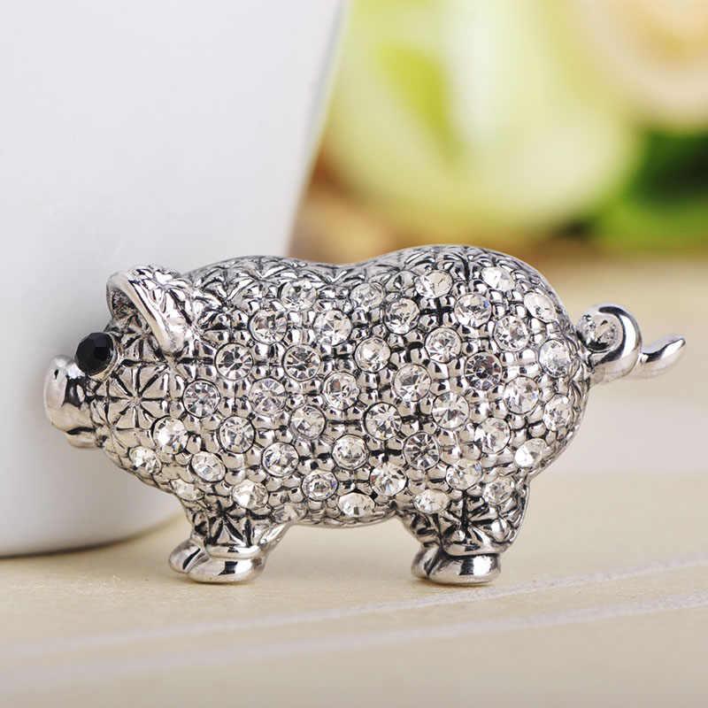 FUNMOR милый золотой цвет форма свиньи брошь из сплава Полный Кристалл банкет вечерние ювелирные изделия животных броши значок для женщин дети нагрудник