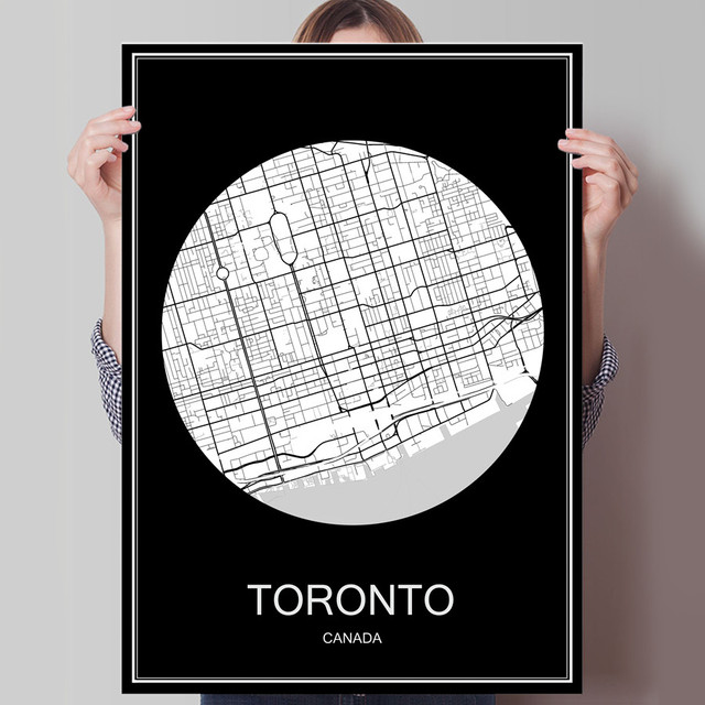 Black white city map of toronto canada print poster print on paper or canvas wall sticker