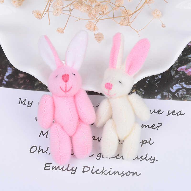 Mini Joint lapin en peluche 6cm, 1 pièce, pendentif lapin en peluche pour chaîne à clé, jouet poupée bricolage ornements cadeaux 3 couleurs