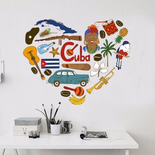 Kuba Ilustrace Cestování Slovo Mezník Nástěnná nálepka Svatební výzdoba Vinylová nepromokavá nástěnná nálepka Tapeta Lepicí obraz na stěnu