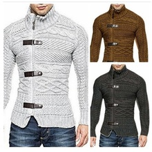 New Fashion Men Long Sleeve Sweatercoat Triple Breasted Striped Hooded Sweater Knitwear Autumn Winter Men Warm Sweaters ,LA465