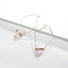 Joolim Irregular Geometric Pointy Earring With Natural Stone Design Earrings Wholesale Brand