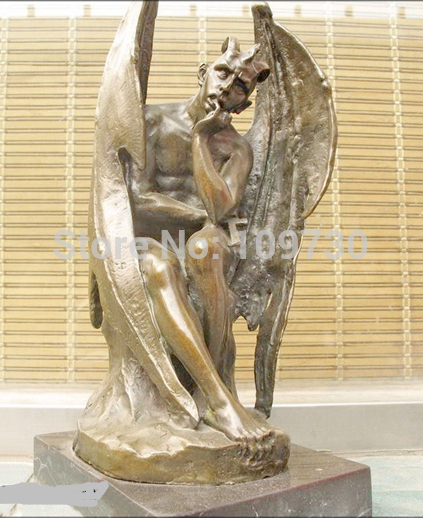001194 14 fallen angel wing satan demons marble bronze art batman