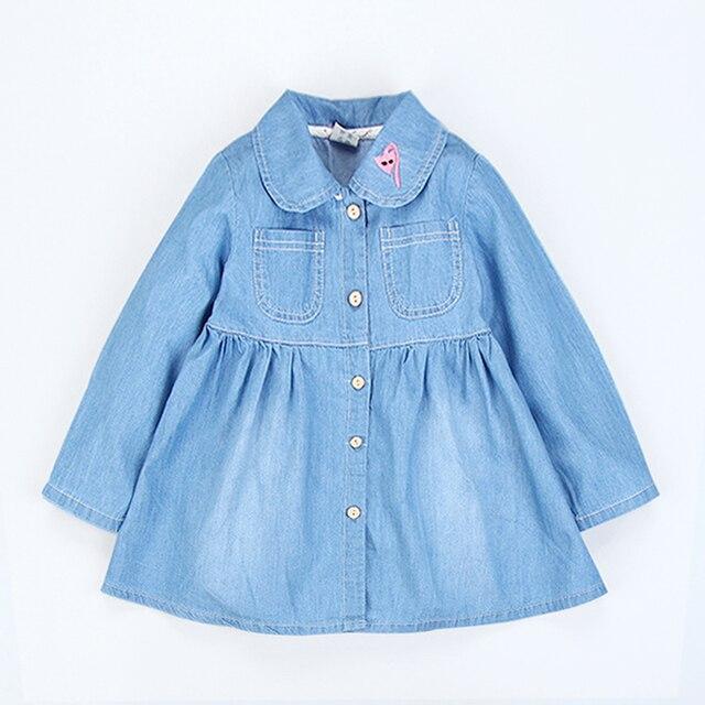 2d2cbc4eb أزياء طفل الفتيات الدنيم اللباس الاطفال اللباس قميص قطني بكم طويل فتاة  فساتين مع جيوب ملابس