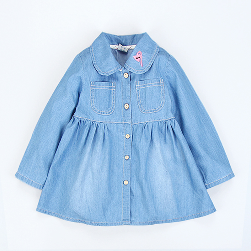 Moda fete fete rochie denim rochii copii rochie de bumbac rochie cu - Haine copii
