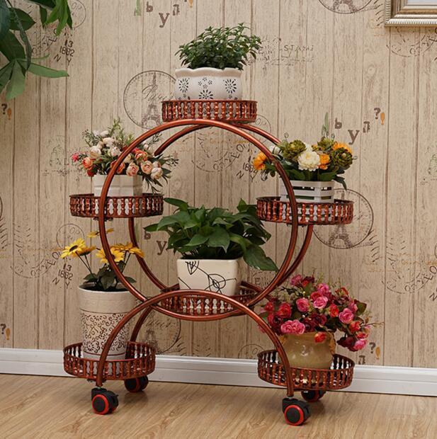 Il multi-strato di cintura ruota arte del ferro mensola del fiore Europeo montaggio angolo soggiorno mobile scaffalature