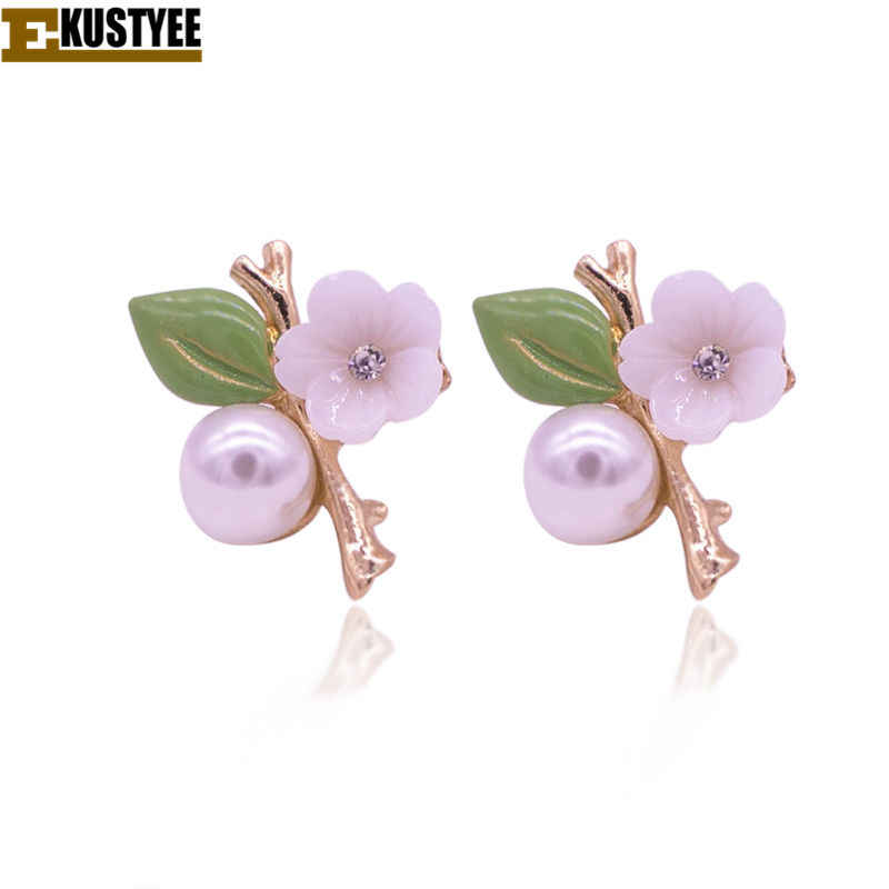 Hadiah natal Mutiara Bunga Manik-manik Kristal Vintage Earrings Untuk Wanita OL Gaya Lucu Manis Stud Earrings Fashion Perhiasan