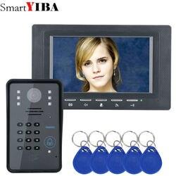 SmartYIBA 7 дюймов мониторы черный RFID пароль телефон видео домофон дверные звонки с ИК камера система контроля доступа