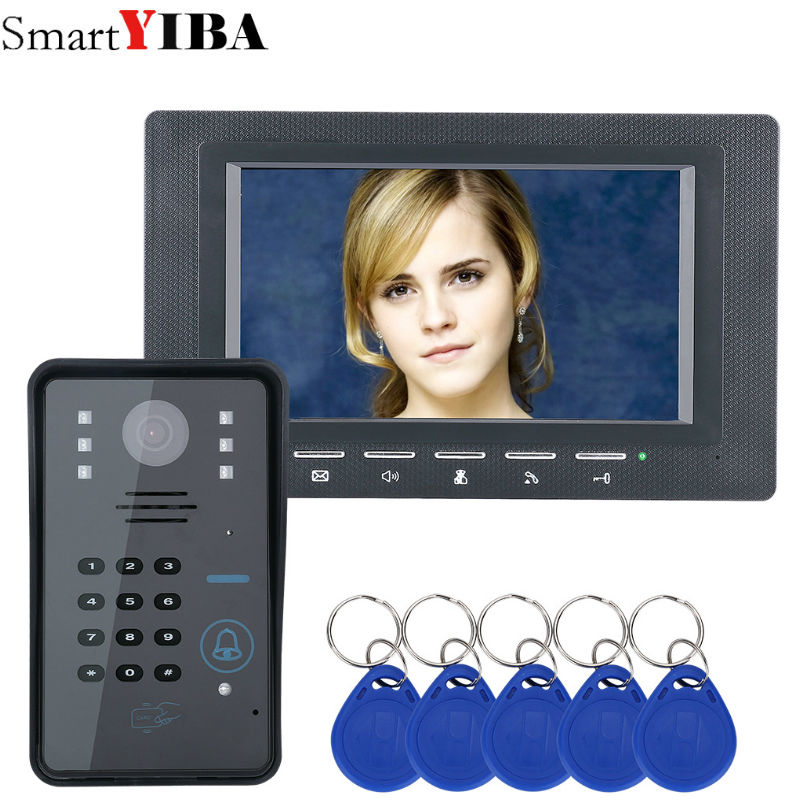 SmartYIBA 7inch monitor black RFID Password Video Door Phone Intercom Doorbell With IR Camera Access Control System 7 inch password id card video door phone home access control system wired video intercome door bell
