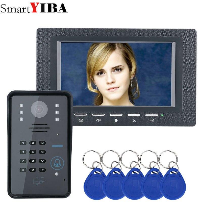 SmartYIBA 7 pouces moniteur noir RFID Mot de Passe Vidéo Porte Téléphone Interphone Sonnette Avec Caméra IR Système de Contrôle D'accès