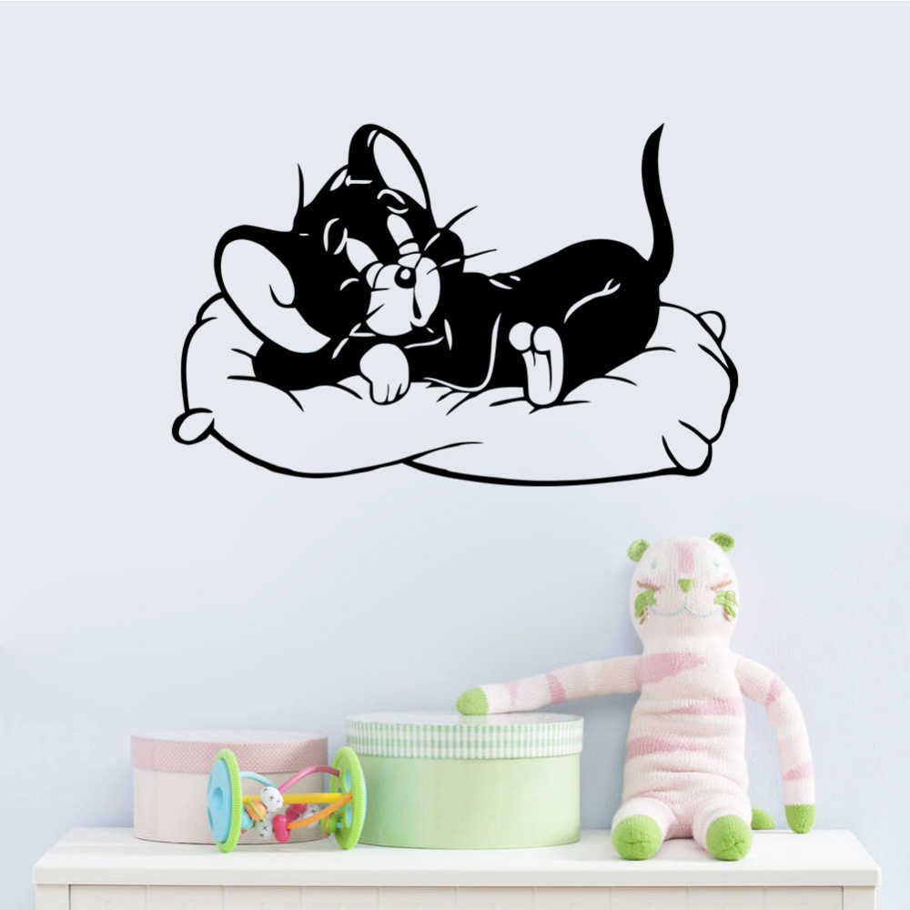 Aliexpress buy cartoon sleeping cat tom and jerry wall aliexpress buy cartoon sleeping cat tom and jerry wall stickers 8504 living kids rooms bedroom kids room dogs and cats room home decor from amipublicfo Image collections