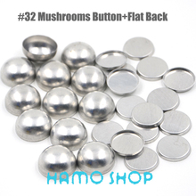 50Sets/lot #32 Mushrooms Shape Round Aluminum Fabric Covered Cloth Button Cover Metal Flat Back Handmade DIY Free Shipping