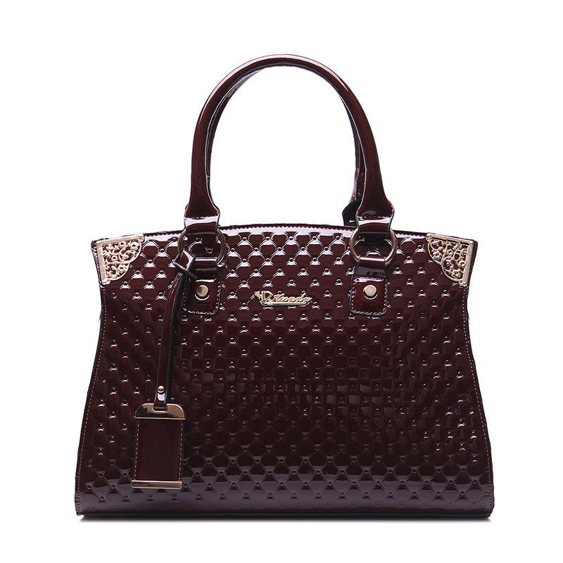 Luxury Women Patent leather Handbag Embossed Diamond Lattice Shoulder Casual Tote Bag Ladies Leisure Messenger Crossbody Bags patent leather handbag shoulder bag for women