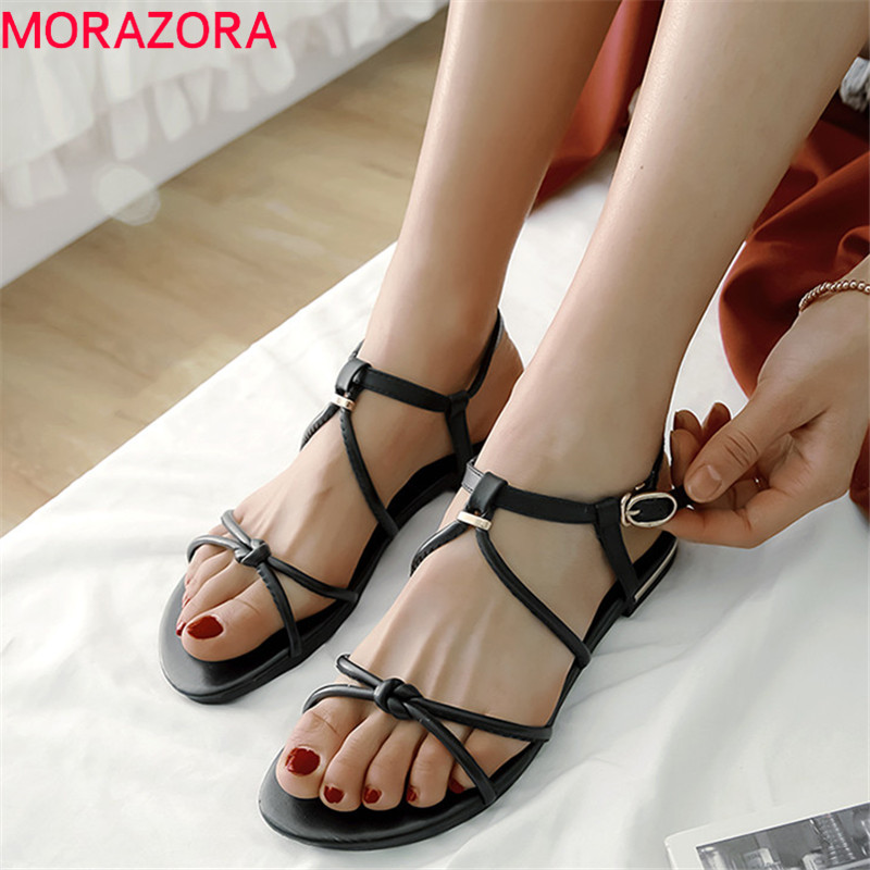 MORAZORA 2019 new arrival women sandals genuine leather shoes summer shoes simple fashion flat shoes woman Beach shoes white MORAZORA 2019 new arrival women sandals genuine leather shoes summer shoes simple fashion flat shoes woman Beach shoes white