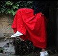 Mujeres Jacquard Más El Tamaño de Cintura Elástica Pantalones de Pierna Ancha Señoras Chino de Lino de Algodón Sueltos Pantalones de la Longitud Del Tobillo Pantalones Grande de Otoño