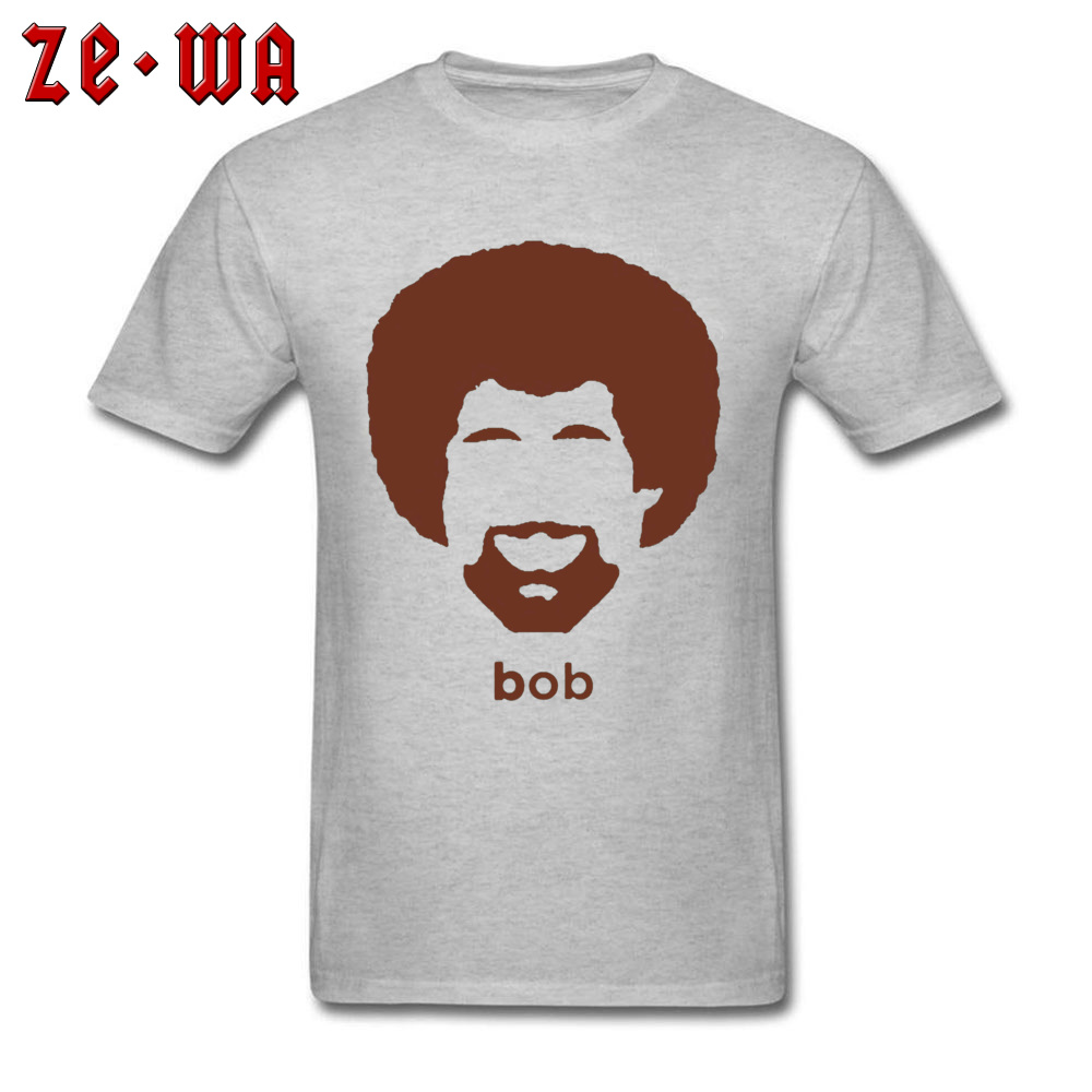 Artist Bob Ross T-shirt Men's Funny Authentic Afro T Shirt Summer Printed Streetwear Geek Letter Casual Grey Top Tshirt Oversize