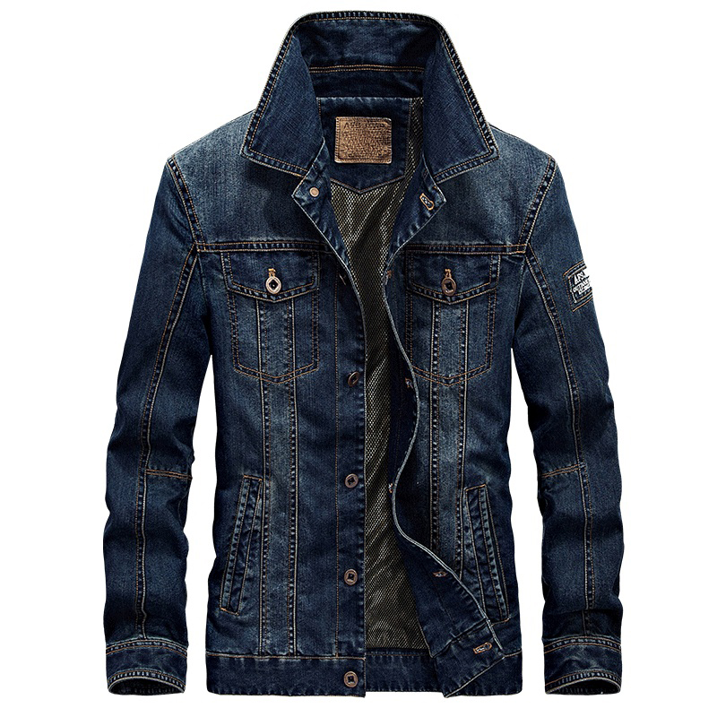 2018 Жаңа AFS JEEP Denim Jacket Ерлерге арналған Turn-Down Collar Fashion Жұқа Сыртқы киім Jaquetas Masculino Jeans Jacket Plus size 4XL