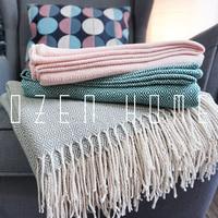 Super Soft Lap Plaid Throw Blanket Tassel Woven Yarn Dyed Fringed Bed Blanket Elegant Lightweight Cozy Blankets 130*220cm