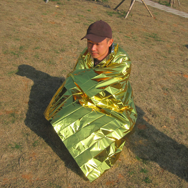 210*160CM Outdoor Camping Travel  Waterproof  Military Emergency Blanket Survival Rescue Insulation Curtain Blanket Silver