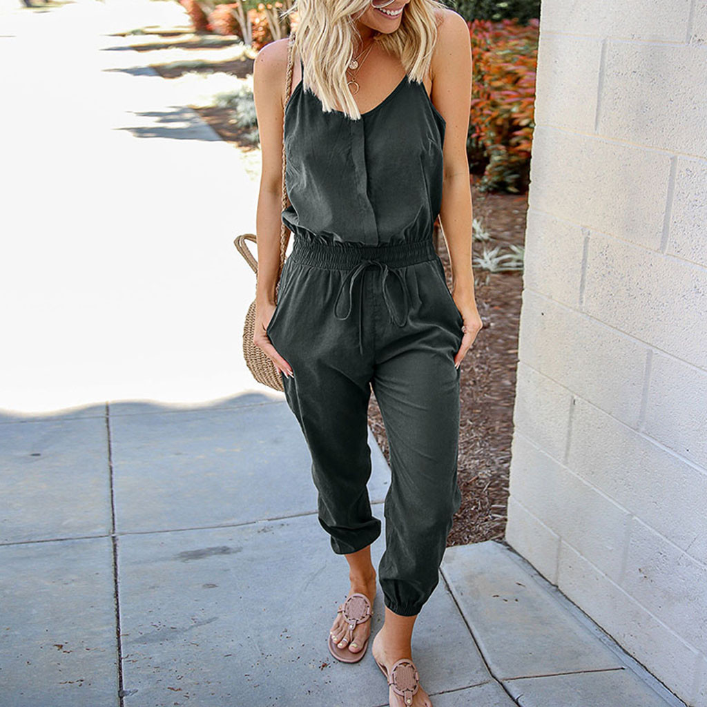 2019 MAXIORILL New сиамскиебрюки Women's Solid Color O-neck Sleeveless Bandage Casual Jumpsuit Wholesale Y3