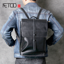 AETOO Simple head cowhide double shoulder bag retro leather computer bag men and women casual Crazy Horse leather bag