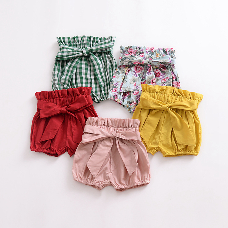 Baby girls shorts with bow candy colors summer infant bebes clothing toddler girls bloomers ruffle shorts 2018 kids clothes ruffle hem solid shorts