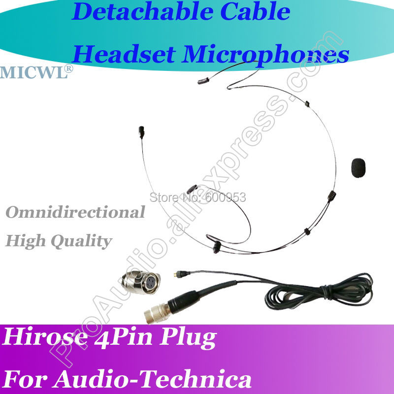 MICWL <font><b>T30</b></font> Detachable Cable Black ear hook Headset Microphone for Audio-Technica Wireless Hirose 4Pin connector image