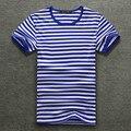 2017 Sea-Camisa listrada de Verão Listrado azul-Marinho de Manga Curta T-shirt de Algodão Camisa Dos Homens de Tamanho Grande Amor Compassivo frete Grátis