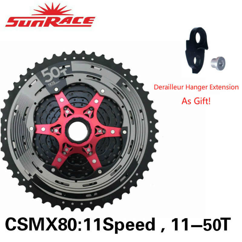 SunRace 11 Speed 11-50T MTB Bike Cassette Wide Ratio 11speed 11s  50t bicycle Freewheel With Hanger Extension CSMX80