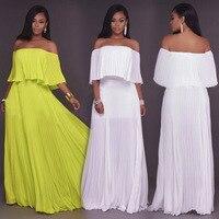 ZTVitality Women Long Dress 2018 Newest Yellow White Chiffon Dress Slash Neck Off Shoulder Fashion Vestidos Sexy Party Dresses