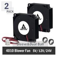 2 шт. Gdstime для 3D-принтеров 40 мм x 40 мм x 10 мм 4 см 5 в 12 В 24 В 4010 40 мм DC охлаждения турбо вентилятор
