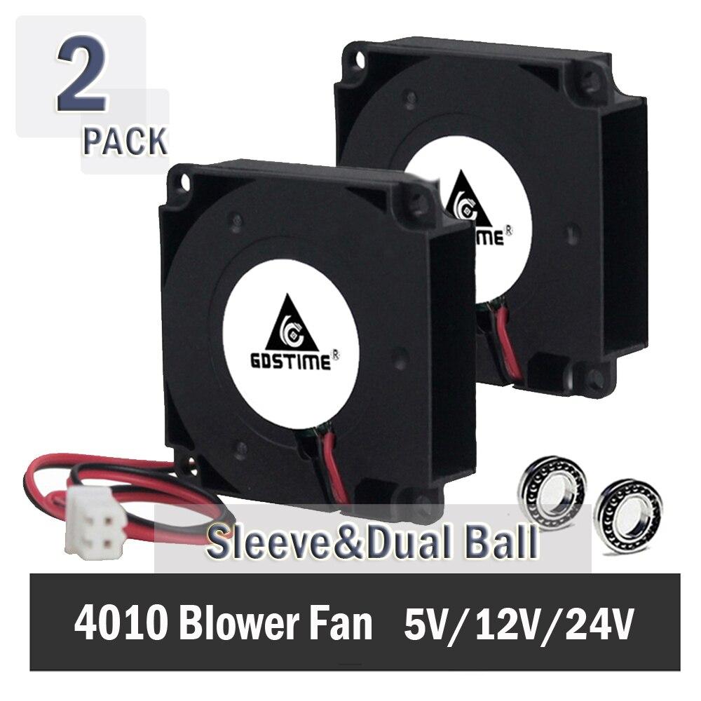 2 pcs Gdstime pour pièces d'imprimante 3D 40mm x 40mm x 10mm 4 cm 5 V 12 V 24 V 4010 40mm DC ventilateur de refroidissement Turbo ventilateur