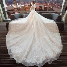 Fansmile Luxury Long Train Vestido De Noiva Lace Wedding Dress 2020 Customized Plus Size Wedding Gowns Bridal Dress FSM 490T