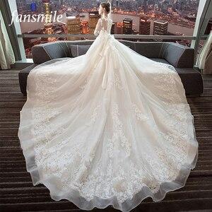 Image 1 - Fansmile Luxury Long Train Vestido De Noiva Lace Wedding Dress 2020 Customized Plus Size Wedding Gowns Bridal Dress FSM 490T