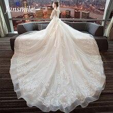 Fansmile lüks uzun tren Vestido De Noiva dantel düğün elbisesi 2020 özelleştirilmiş artı boyutu gelinlikler gelin elbise FSM 490T