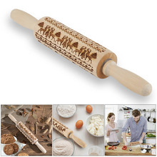 Christmas Rolling Pin Engraved Carved Wood Embossed Rolling Pin Kitchen Tool Hot Sale heart rolling pin