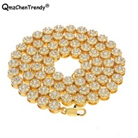 Hip Hop Men's Bling Iced Out Tennis Chain 1 Row Circle Rhinestone Link Necklaces Luxury Brand Gold Men Round Chain Jewelry