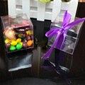 50 Peças/lote PVC Transparente Quadrado Presente Caixas Do Favor Dos Doces de Chocolate Sacos de Embalagem Transparente Caixa de Lembrança Do Casamento da Fonte Do Partido