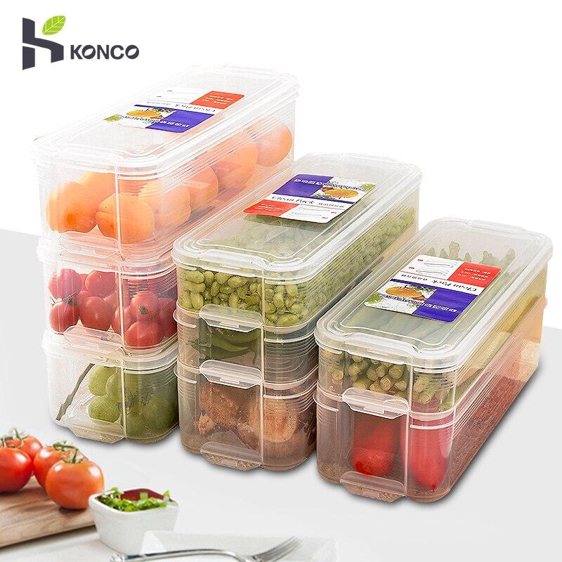 Kitchen Plastic Refrigerator Storage Box Food Storage Bins Containers with Lid