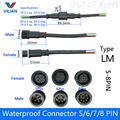 5 pairs Waterproof connector Current 2.4A/4A 5 pin / 6 pin / 7 pin / 8pin with wire cable IP67 female male plug 0.3/0.5 (mm2)
