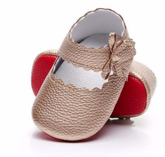 2019 Fashion New Soft Red Sole Baby Moccasins Pu Leather Shoes Baby Girls Ballet Princess Shoes Mary Jane First Walk Shoes 7 Colors For 0-18m